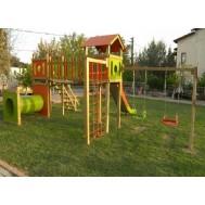 Ahşap Çocuk Oyun Parkı Tünelli