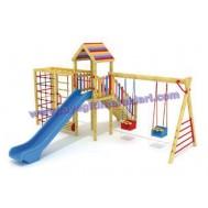 Renkli Ahşap Çocuk Oyun Parkı