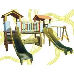 Ahşap Tünelli Çocuk Oyun Parkı
