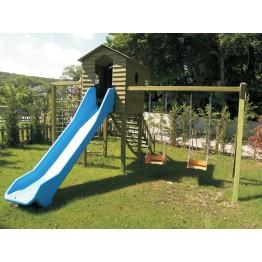 Ahşap Kulubeli Çocuk Oyun Parkı