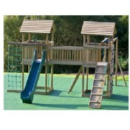 İki Kuleli Ahşap Çocuk Oyun Parkı