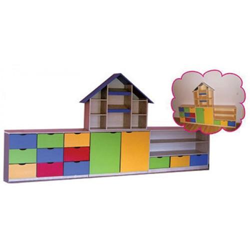 Kitaplıklı Çatılı Sınıf Dolabı modelleri, Kitaplıklı Çatılı Sınıf Dolabı fiyatı, anaokulu Dolaplar fiyatları, anasınıfı Dolaplar modelleri görselleri ve resimleri, anaokulu kreş malzemeleri
