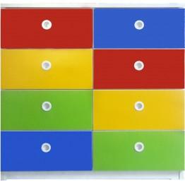 Renkli 8 Çekmeceli Dolap