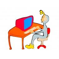 Bilgisayar Oynayan Çocuk Figürlü Duvar Süsü