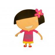 Pembe Elbiseli Çocuk Figürlü Duvar Süsü