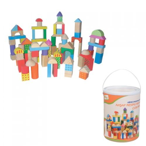 100 Parça Ahşap Blok Seti modelleri, 100 Parça Ahşap Blok Seti fiyatı, anaokulu Blok Köşesi fiyatları, anasınıfı Blok Köşesi modelleri görselleri ve resimleri, anaokulu kreş malzemeleri