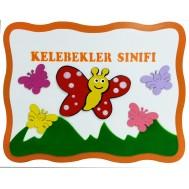 Kelebek Figürlü Sınıf Tabelası