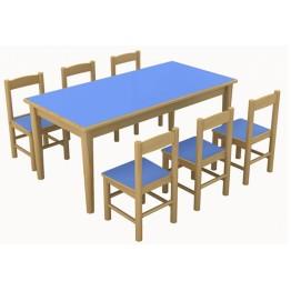 Klasik Ahşap Masa-Sandalyeler Dahil